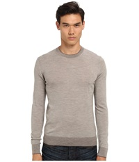 Michael Kors Tipped Merino Crew Sweater Oatmeal Melange Men's Long Sleeve Pullover White