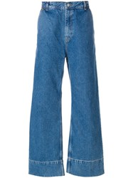 Tom Wood Wide Leg Jeans Cotton Blue