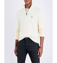 Polo Ralph Lauren Half Zip Cable Knit Cotton Jumper Cream