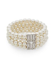 Saks Fifth Avenue Pearl Embellished Four Row Bracelet Silver Pearl