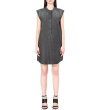 The Kooples Cap Sleeved Denim Dress Middle Grey