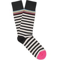 Paul Smith Striped Cotton Blend Socks Black