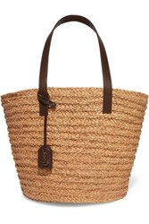 Saint Laurent Panier Medium Leather Trimmed Raffia Tote Brown