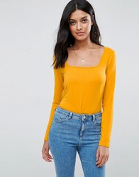 Asos Top With Square Neck And Long Sleeve Bright Yellow