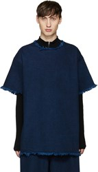 Marques Almeida Indigo Frayed Denim T Shirt