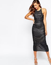 Asos Petrol Iridescent Low Back Midi Dress Black