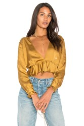 For Love And Lemons Twinkle Long Sleeve Blouse Mustard