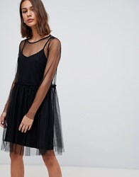 Minimum Mesh Overlayer Skater Dress Black