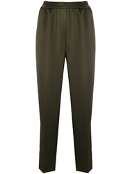 Luisa Cerano Straight Side Stripe Trousers Green
