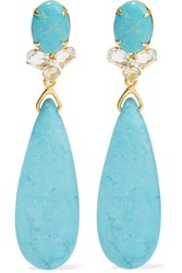 Bounkit Gold Tone Turquoise And Quartz Earrings Blue