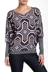 Hale Bob Printed Woven Contrast Dolman Sweater Gray