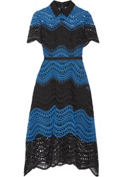 Lela Rose Silk Trimmed Guipure Lace Midi Dress Blue