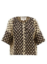 Ace And Jig Claude Polka Dot Print Cotton Top Black Multi