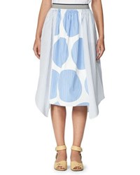 Stella Mccartney Stripe And Circle Print Poplin Skirt Blue White Blue White