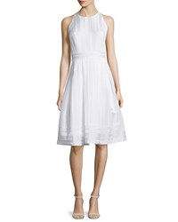 Carmen Marc Valvo Sleeveless Pleated Fit And Flare Dress White Size 10