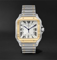 Cartier Santos Automatic 39.8Mm 18 Karat Gold Interchangeable Stainless Steel And Leather Watch White