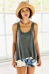 Truly Madly Deeply Racerback Swing Tank Top Black