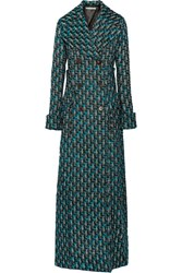 Alessandra Rich Double Breasted Metallic Tweed Coat Turquoise