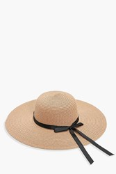Boohoo Evelyn Ribbon Straw Floppy Hat Natural