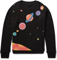 The Elder Statesman Solar System Intarsia Cashmere Sweater Black