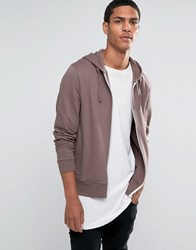Asos Zip Up Hoodie In Violet Violet Grey Purple