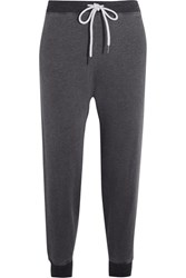 The Great Cropped Cotton Blend Jersey Track Pants Dark Gray