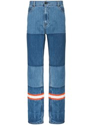 Calvin Klein 205W39nyc Straight Leg Cotton Patchwork Jeans With Blue