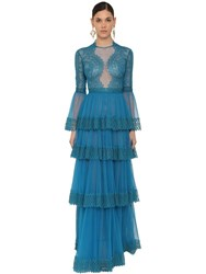 Zuhair Murad Long Ruffled Lace And Tulle Dress Blue