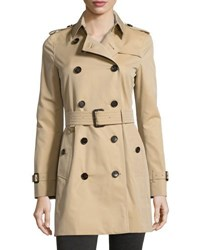 Burberry The Westminster Mid Length Classic Fit Heritage Trench Coat Honey Tan Camel