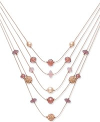 Inc International Concepts Rose Gold Tone Bead And Fireball Multi Layer Necklace Created For Macy's Purple
