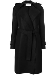 Harris Wharf London Belted Trench Coat Virgin Wool Black