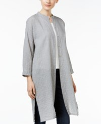 Eileen Fisher Mandarin Collar Shirt Dark Pearl