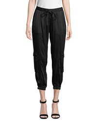 Johnny Was Cropped Satin Cargo Pants Black