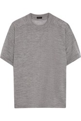 Joseph Button Embellished Merino Wool T Shirt Gray