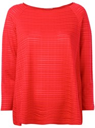 Armani Collezioni Sheer Striped Jumper Red
