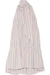 Lisa Marie Fernandez Tiered Striped Seersucker Mini Dress White