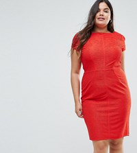 Closet London Plus Structured Plisse Pencil Dress Red