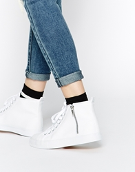 Asos Dalwood High Top Lace Up Trainers White