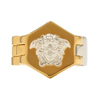Versace Silver And Gold Watch Line Medusa Ring