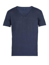 120 Lino V Neck Linen T Shirt Dark Navy