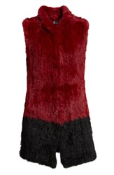 Love Token Long Colorblock Genuine Rabbit Fur Vest Wine Blk
