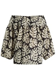 Chloe Palm Leaf Print Cotton And Wool Blend Top Black White