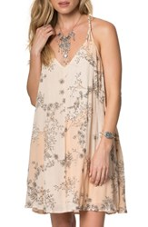 O'neill Women's Hazel Floral Print Dress Peach Puree