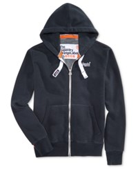 Superdry Men's Orange Label Zipper Hoodie Eclipse Navy