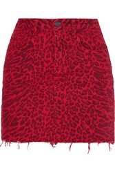 Current Elliott The Five Pocket Leopard Print Denim Mini Skirt Red