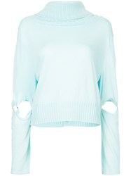 Taylor Cut Out Sleeve Jumper Blue