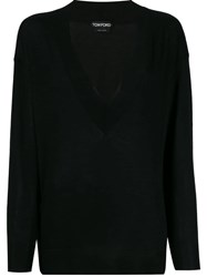 Tom Ford Deep V Neck Jumper Black