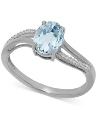 Macy's Aquamarine 1 1 10 Ct. T.W. And Diamond Accent Ring In 14K White Gold