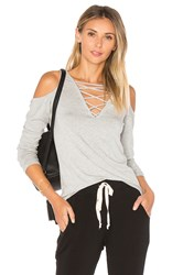 Project Social T Falling For You Lace Up Top Gray