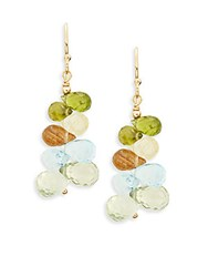 Eva Hanusova Gem Rush Gold Ritule Quartz Blue Topaz And Green Garnet Drop Earrings